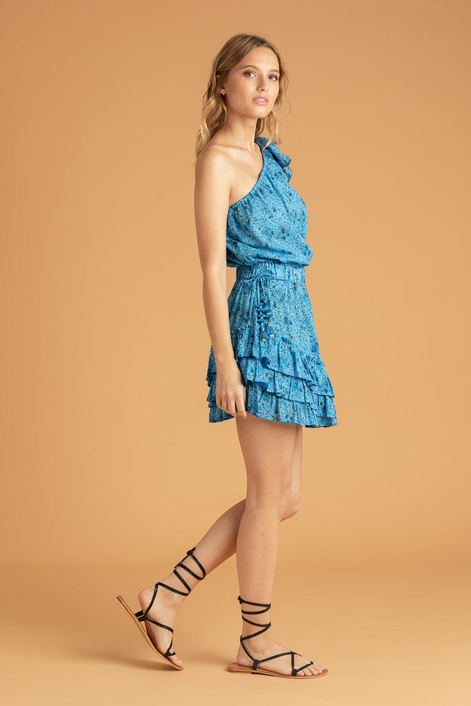 Mini Dress Kaia Ruffled - Blue Watercolor