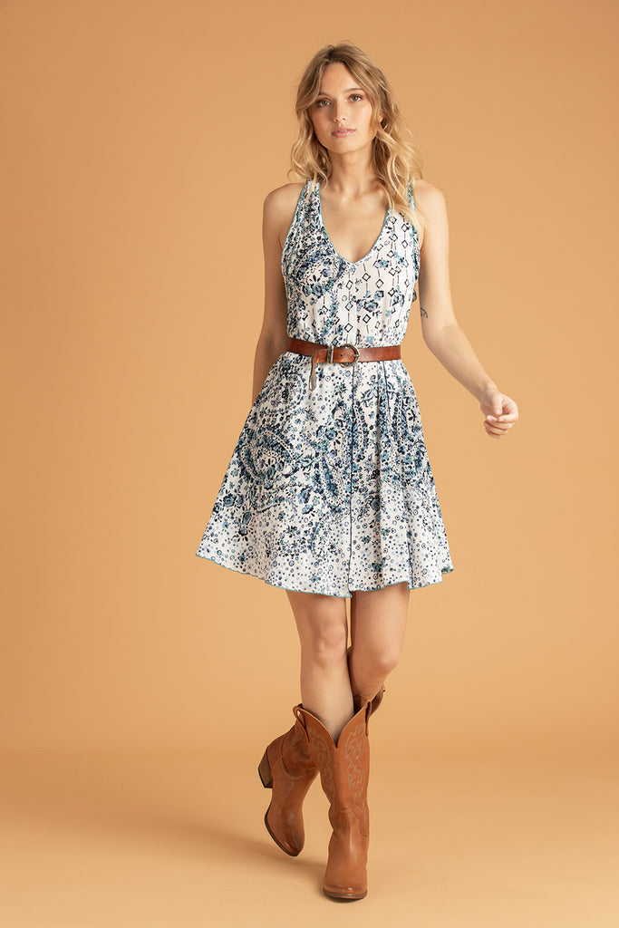 Mini Dress Lala Sleeveless - White Blue Paisley