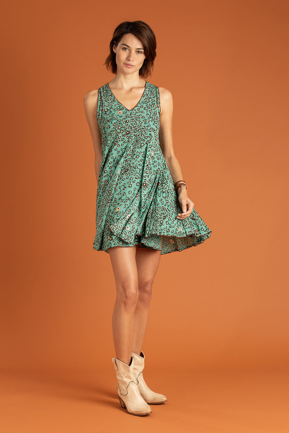 Mini Dress Lala Sleeveless - Green Leo
