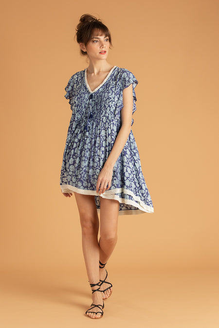 Mini Dress Sylvia Off Shoulder - Blue Aspen