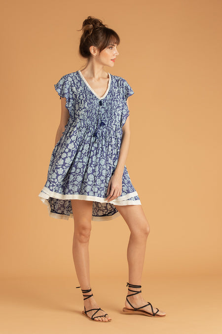 Mini Dress Sasha Lace Trimmed - Navy Farfalla