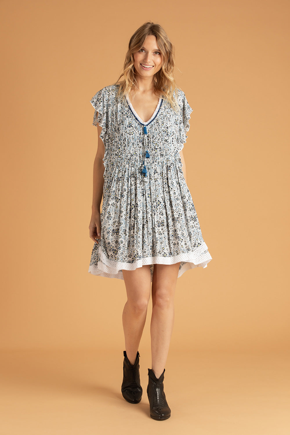Mini Dress Mila Lace Trimmed - White Blue Amarylis