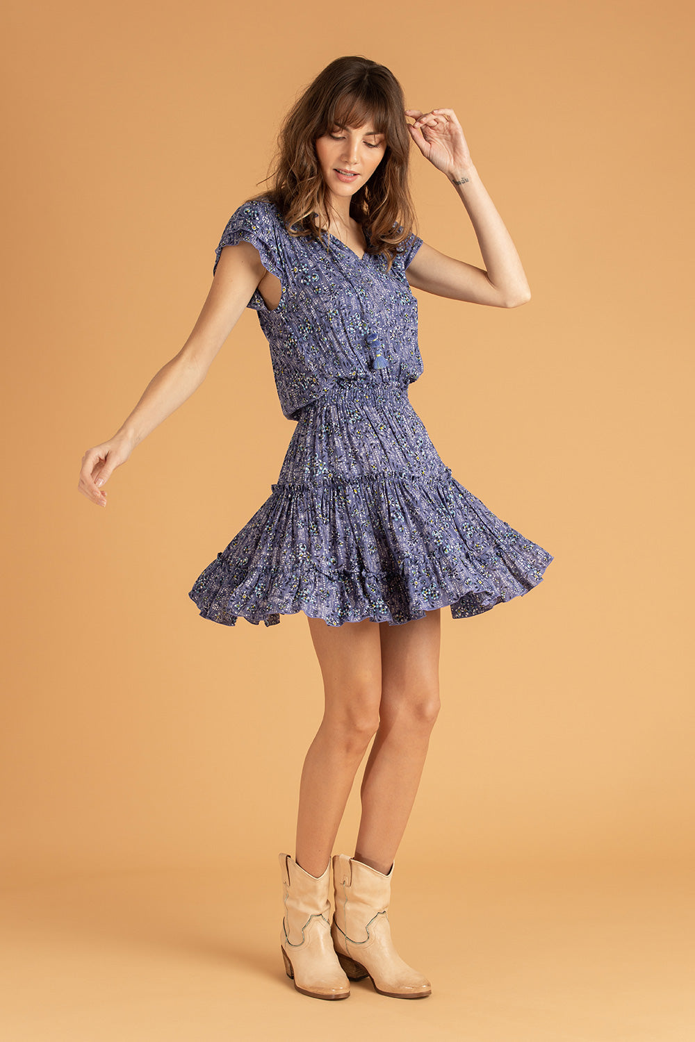 Mini Dress Nava Ruffled - Blue Amarylis