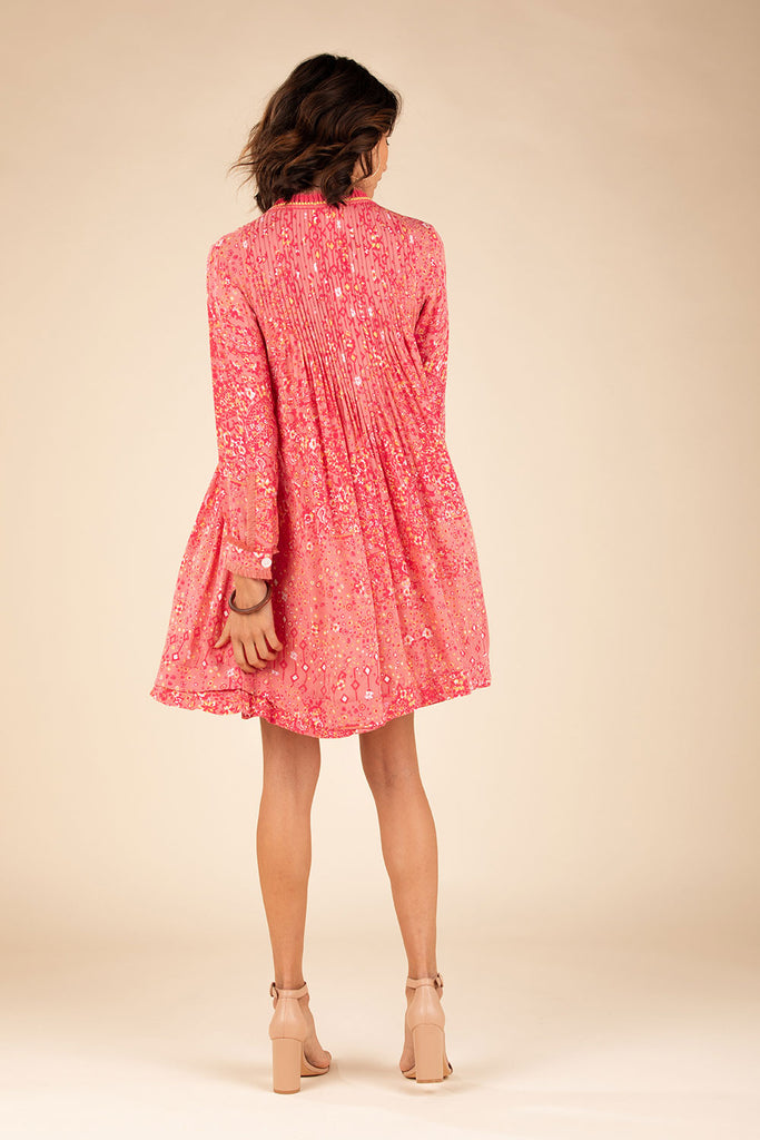 Mini Dress Ola Long Sleeve - Pink Paisley