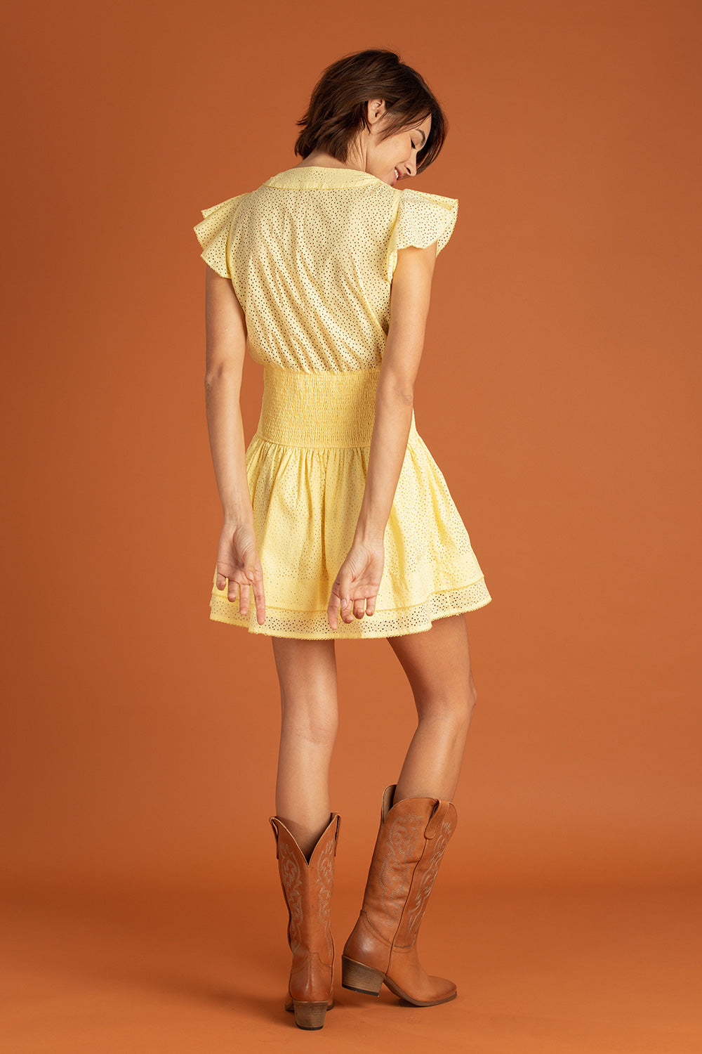 Mini Dress Rachel Smocked - Yellow