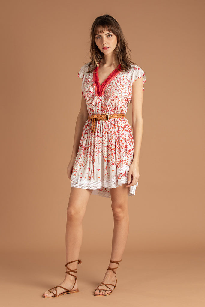 Mini Dress Sasha Lace Trimmed - White Pink Paisley