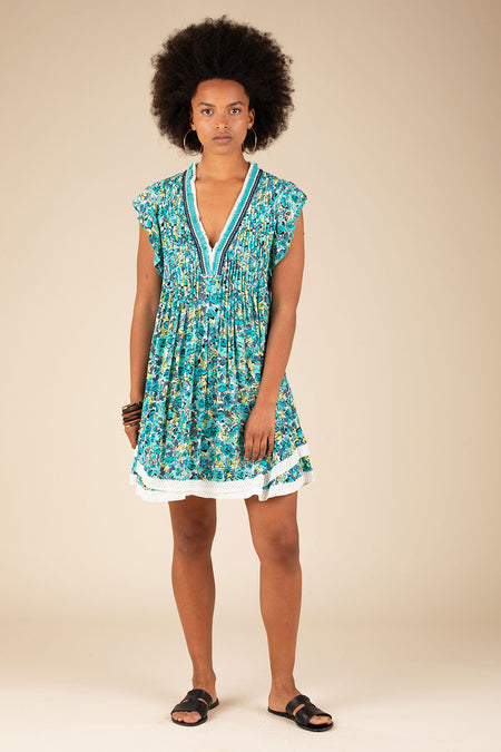 Mini Dress Amora Drop Waist - Blue Bloom
