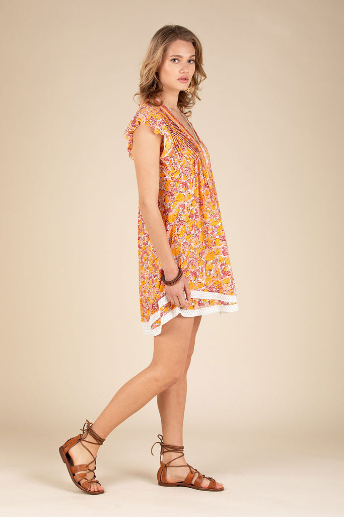 Mini Dress Sasha Lace Trimmed - Yellow Rose