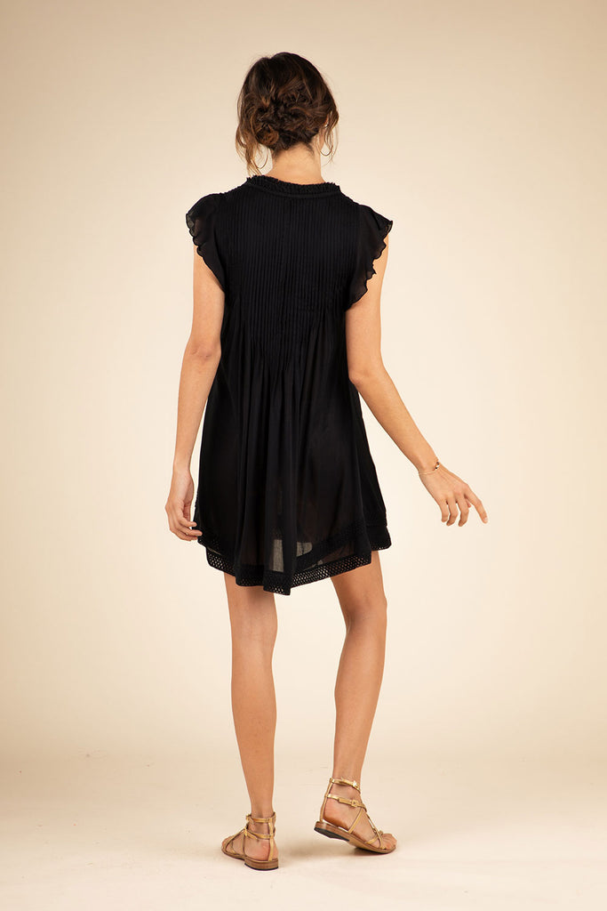 Mini Dress Sasha Lace Trimmed - Black
