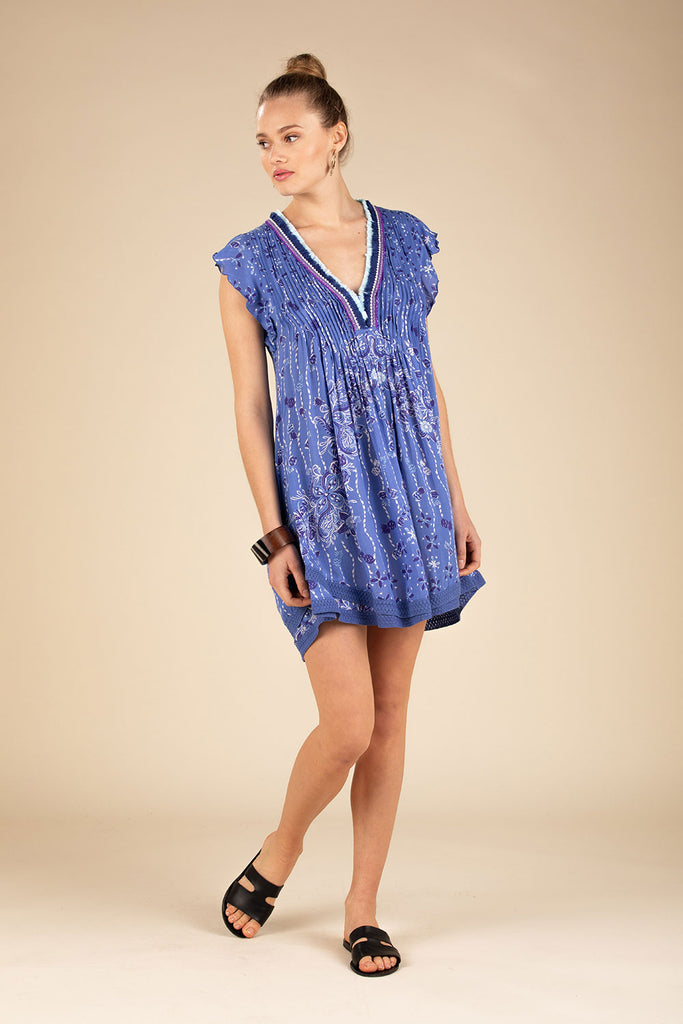 Mini Dress Sasha Lace Trimmed - Blue Pineapple Batik Rombo