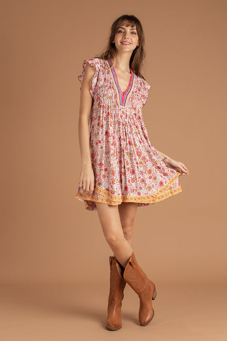 Mini Dress Nava Ruffled - Yellow Glory