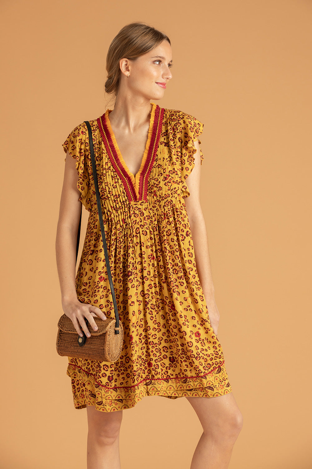 Mini Dress Sasha Lace Trimmed - Yellow Leo