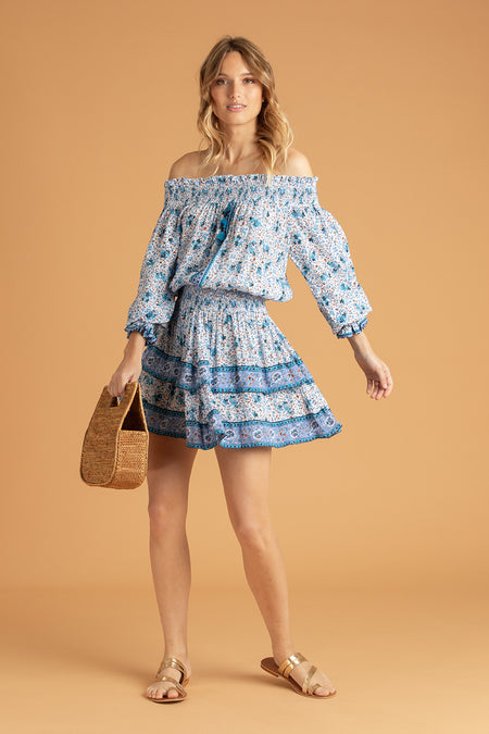 Mini Dress Inka Ruffled - White Blue Watercolor