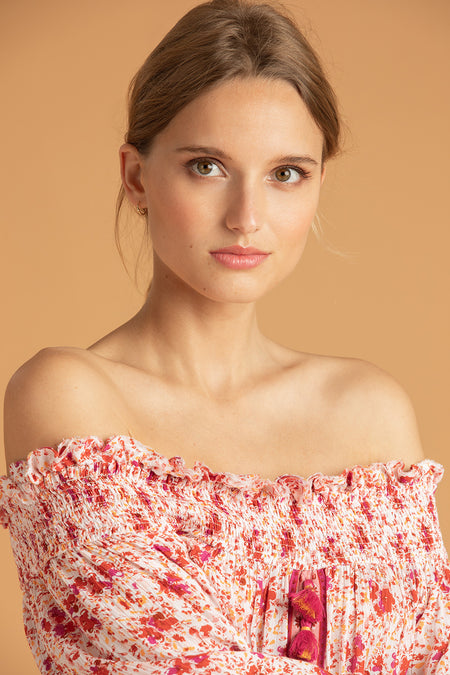 Mini Top Blouse Honey Cold Shoulder - Pink Bloom