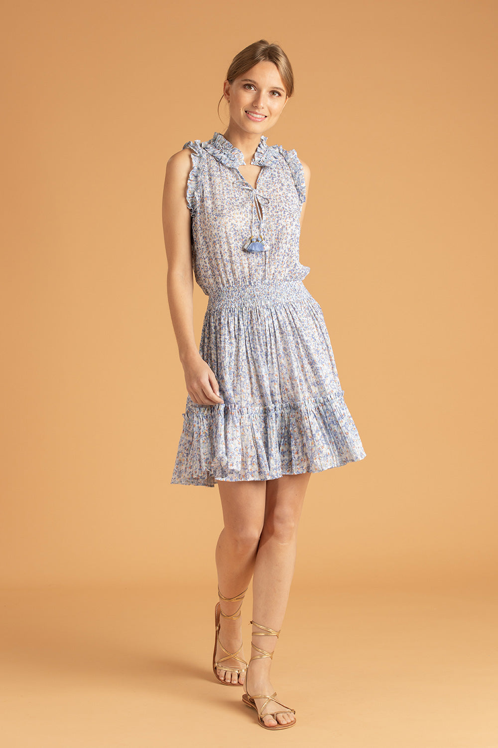 Mini Dress Triny Ruffled - Blue Iris