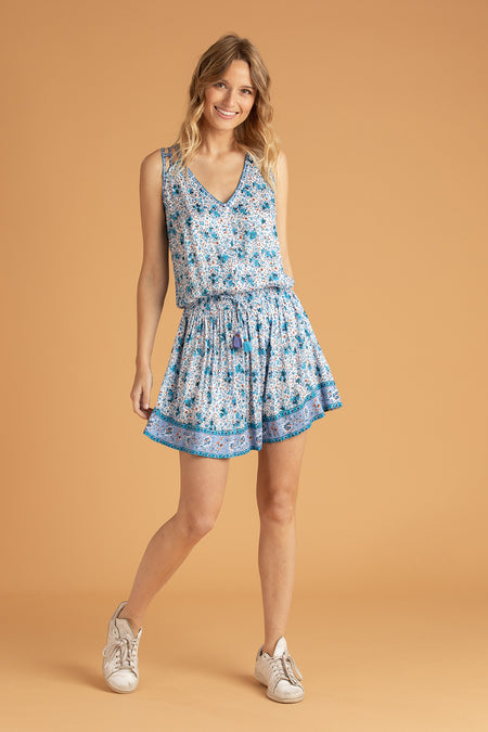 Mini Dress Josie Broderie - Blue Shirley