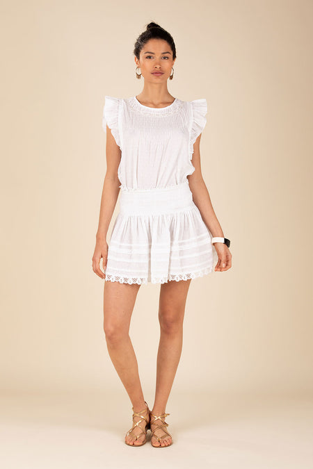 Mini Skirt Rita Pleated - White