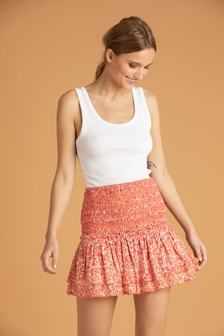 Mini Skirt Kaila Ruffled - White Red Watercolor