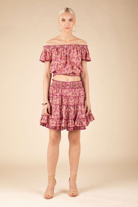 Mini Skirt Amora A Line - Pink Bloom