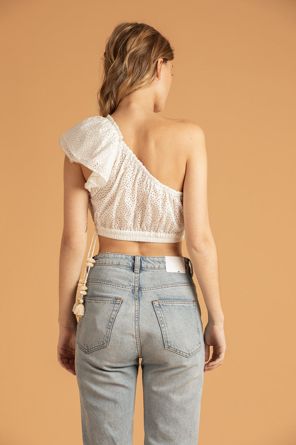 Mini Top Blouse Kaia Ruffled - White