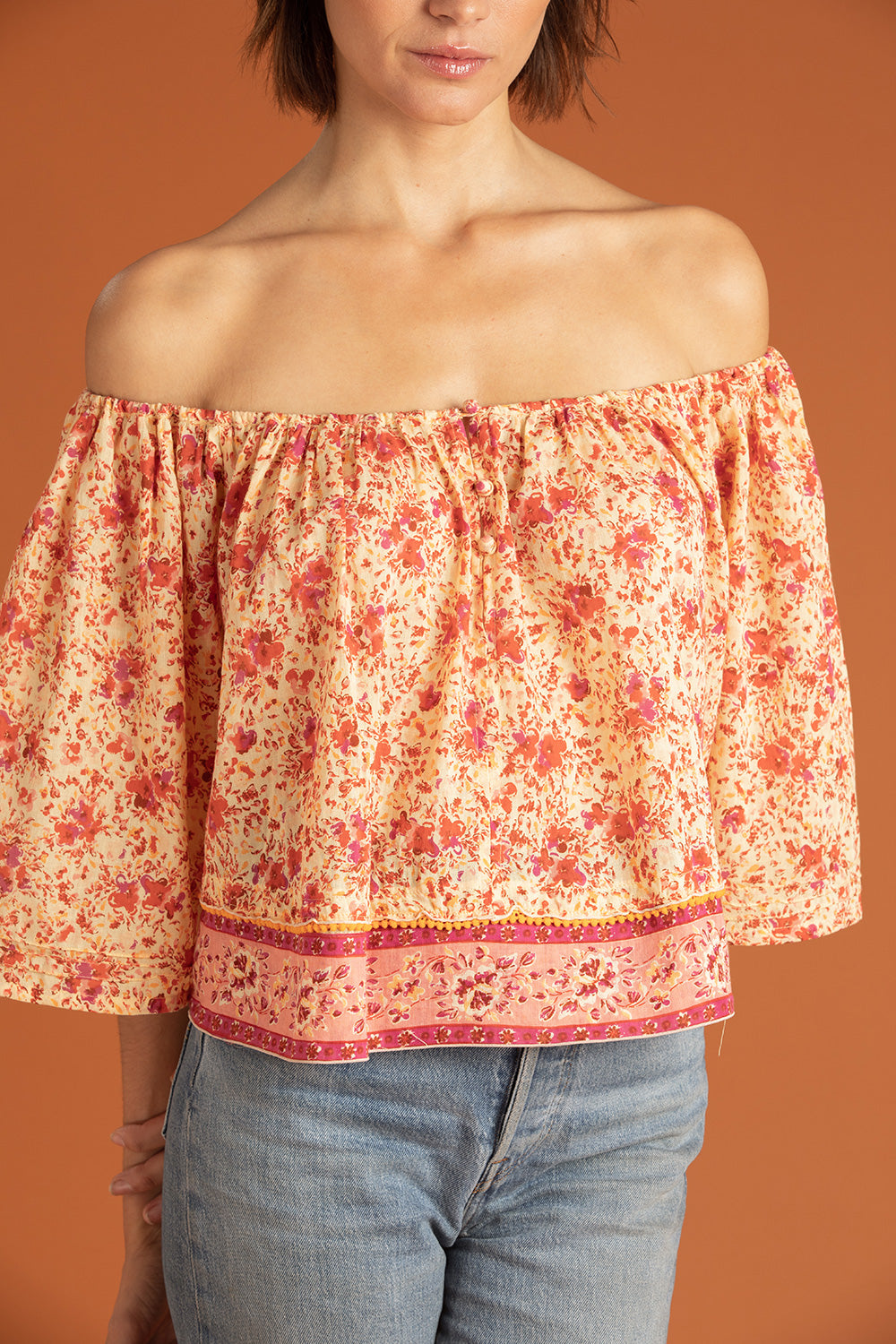 Mini Top Blouse Mya Off Shoulder - Yellow Watercolor
