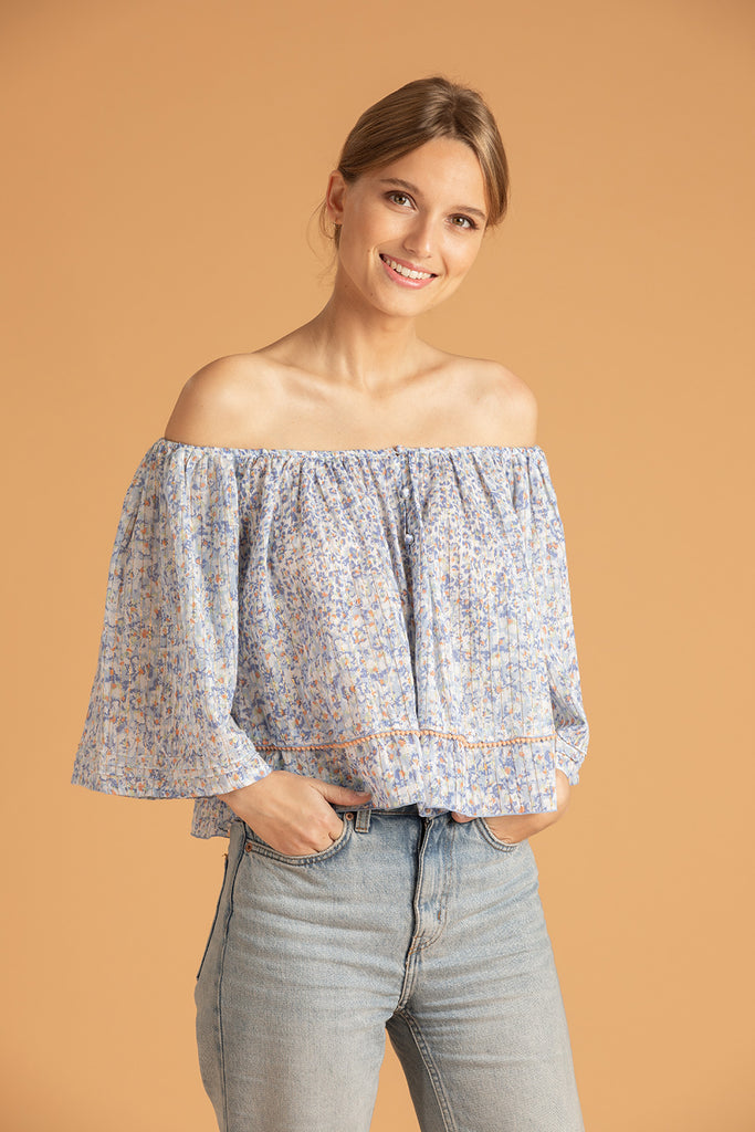 Mini Top Blouse Mya Off Shoulder - Blue Iris
