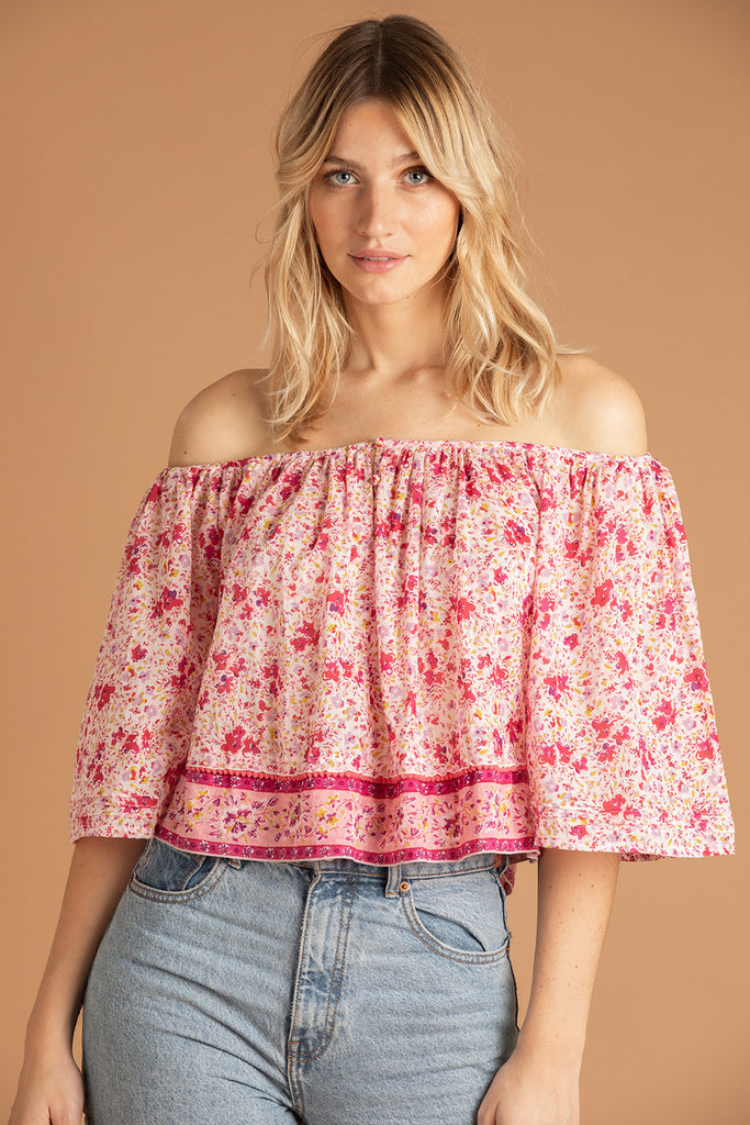 Mini Top Blouse Mya Off Shoulder - Pink Watercolor