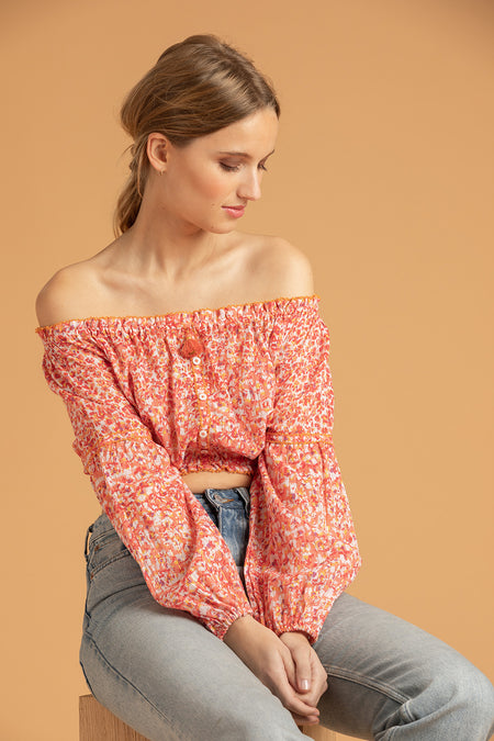 Mini Top Blouse Amora Off Shoulder - Blue Cerise