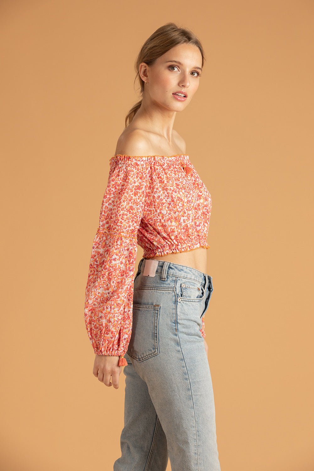 Mini Top Blouse Rachel Off Shoulder - Red Iris