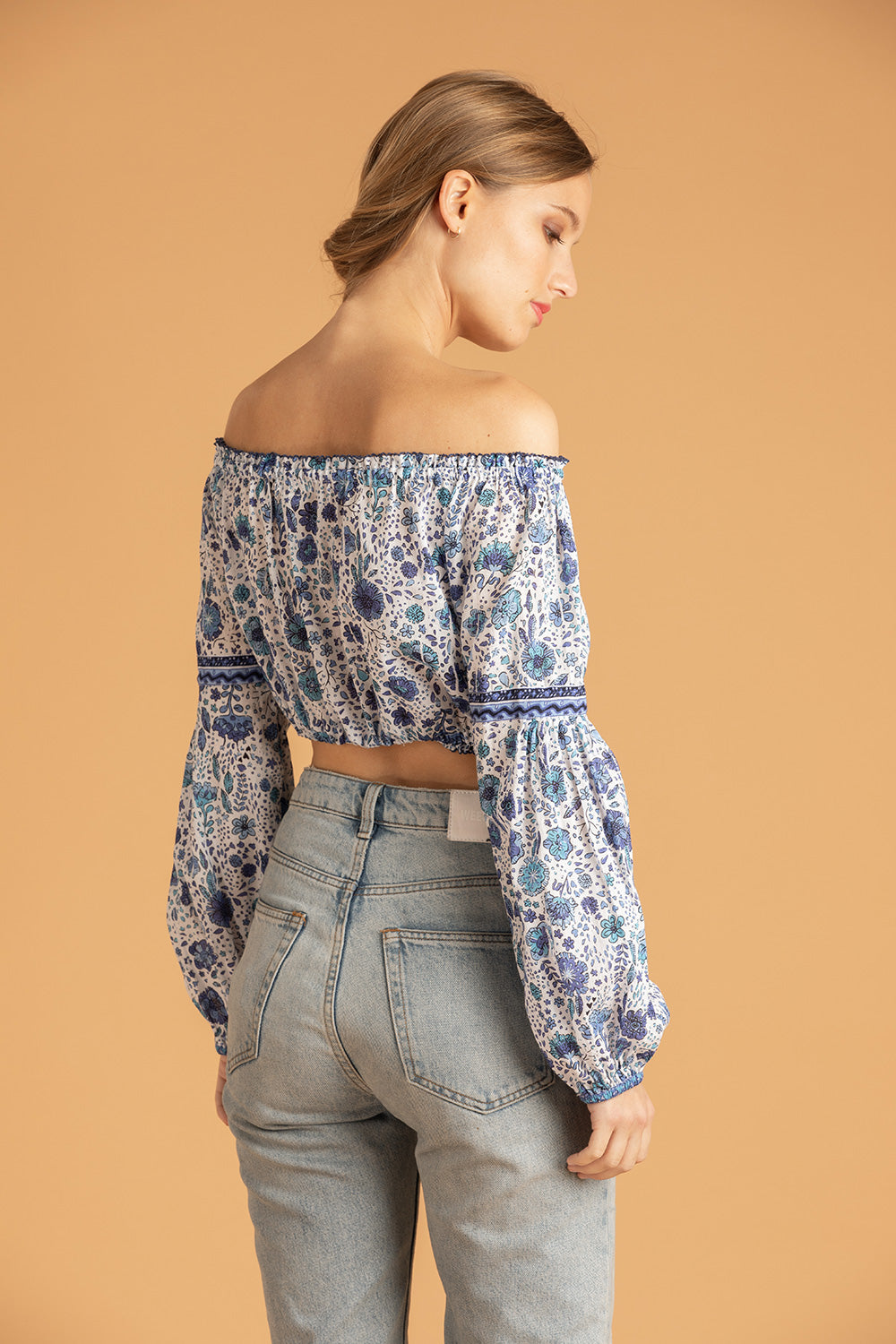 Mini Top Blouse Rachel Off Shoulder - Blue Naif