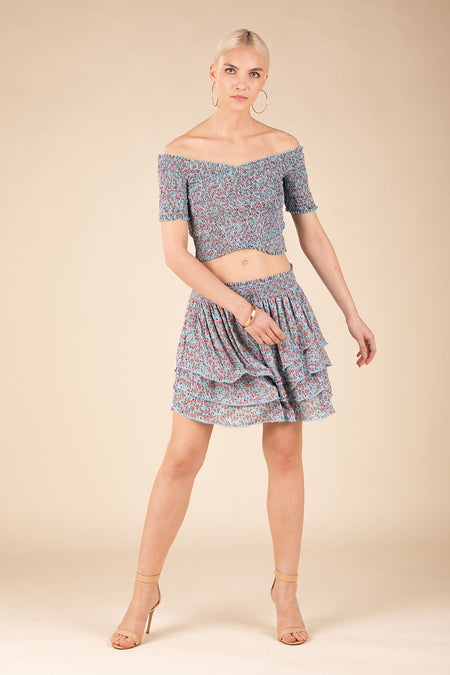 Mini Skirt Irma Panelled - Blue Glory
