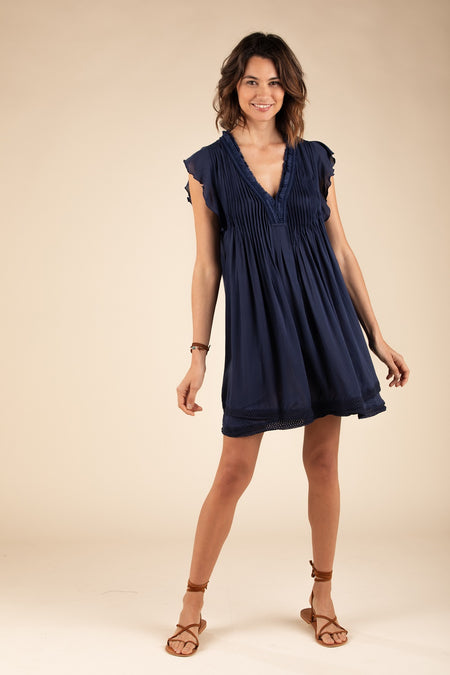 Mini Dress Sasha Lace Trimmed - Navy Gerbera