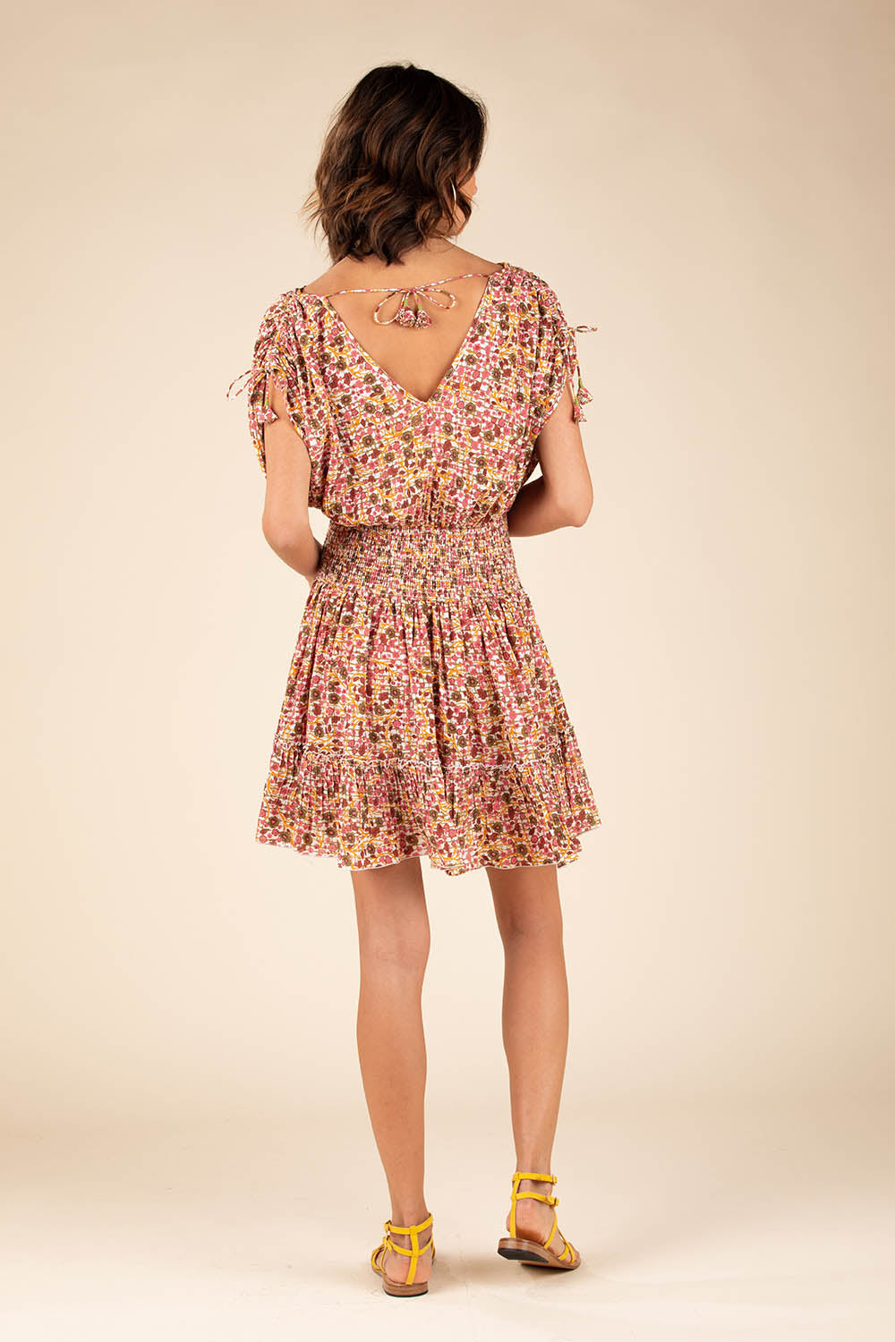 Mini Dress Jena Ruffled - Pink Bloom