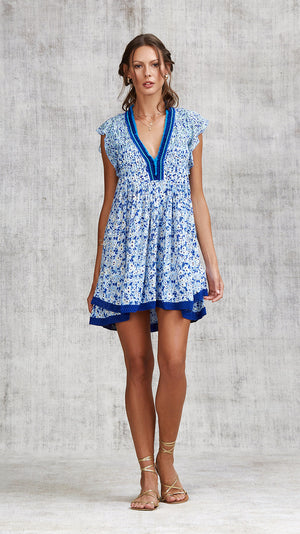 MINI DRESS SASHA LACE TRIMMED - BLUE ICY LIBERTY