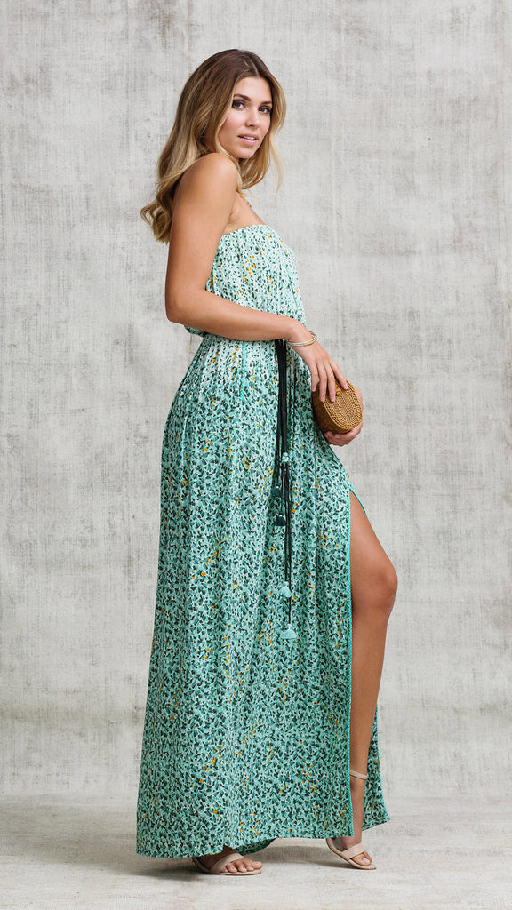 LONG DRESS MARA STRAPLESS - GREEN MOZAIC