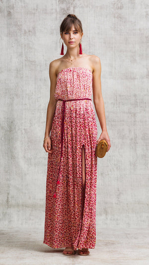 LONG DRESS MARA STRAPLESS - RED MOZAIC