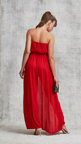 LONG DRESS MARA STRAPLESS - RED
