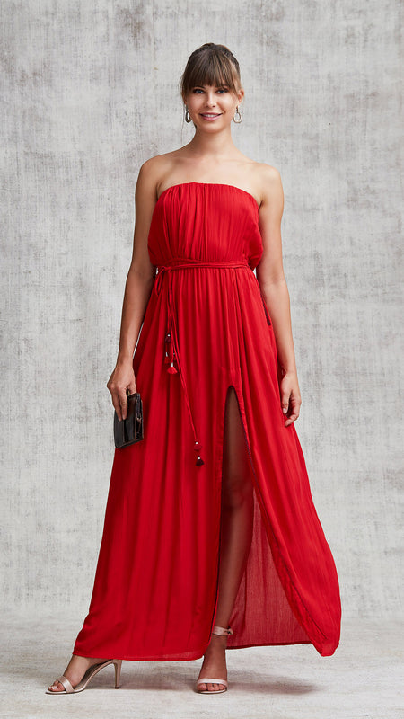 DRESS PALOMA RUFFLED - RED MOZAIC