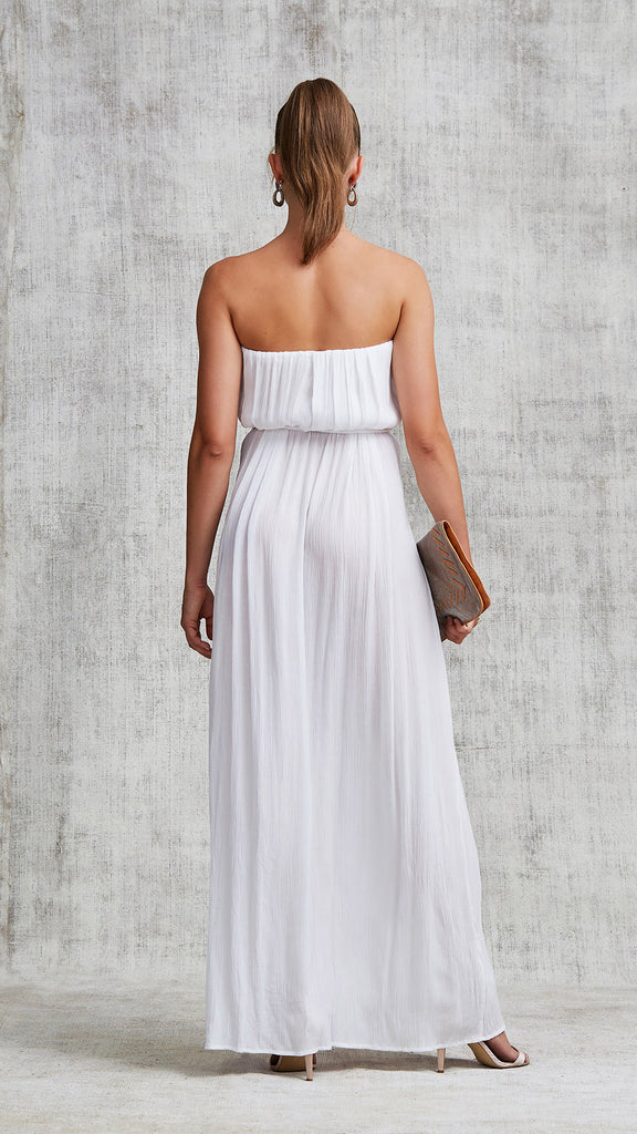 LONG DRESS MARA STRAPLESS - WHITE