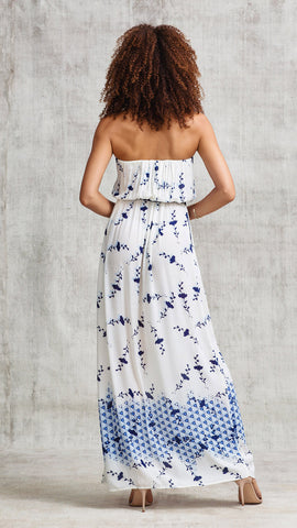 LONG DRESS MARA STRAPLESS - CREAM NAVY SHADED