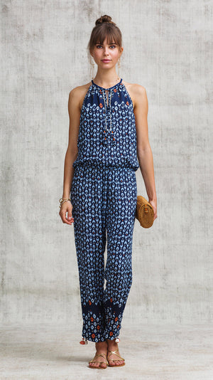 LONG JUMPSUIT MARA SLEEVELESS - NAVY GEOMETRIC