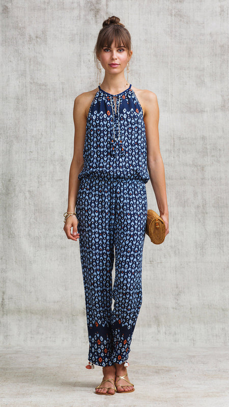 SHORT JUMPSUIT MARA LACE TRIMMED - WHITE BLUE GEOMETRIC