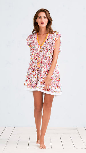MINI DRESS MILA - PINK LEOPARD