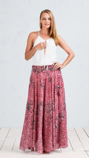 LONG SKIRT NOLA - PINK BLACK GEO BATIK ROMBO