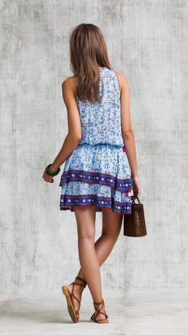 MINI DRESS AMORA LAYERED - BLUE MARGOT