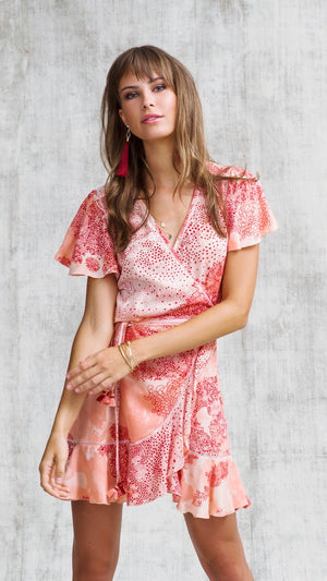 MINI DRESS BELLE RUFFLED - PINK DOTTED LOTUS