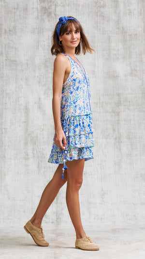 MINI DRESS BETY RUFFLED - BLUE YVONNE