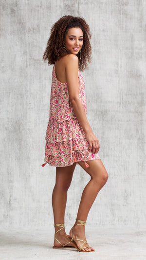 MINI DRESS BETY RUFFLED - PINK YVONNE