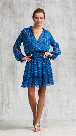 MINI DRESS CLARA FLOUNCE - BLUE SMALL GEO FLOWER