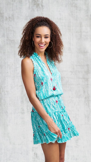 MINI DRESS CLARA RUFFLED - AQUA FANCIFUL